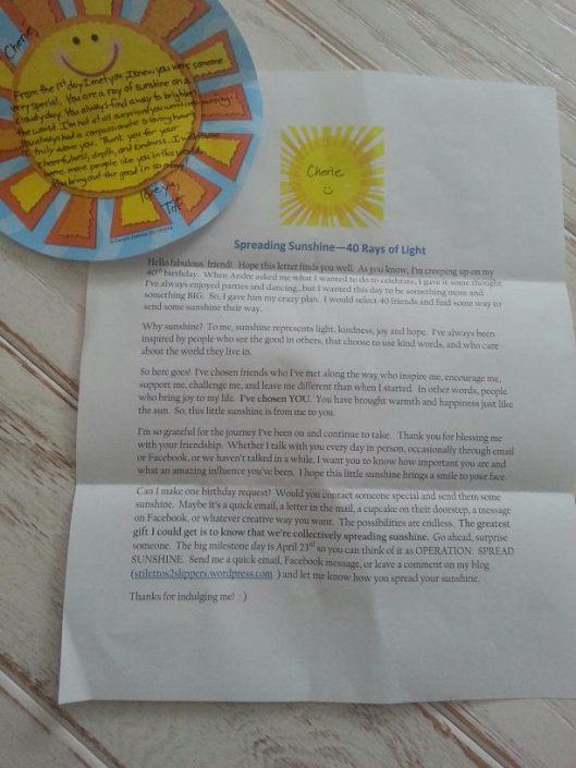 sunshine letter